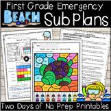 Emergency Sub Plans-First Grade Beach Day!