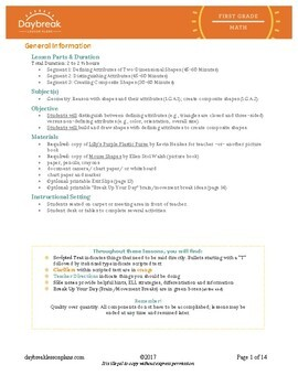 Emergency Sub Plans First Grade Geometry 2 Dimensional & Composite Shapes