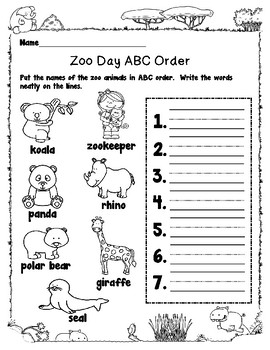 Emergency Sub Plans-First Grade Zoo Day!