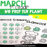 Emergency Sub Plans For 1st Grade (March)