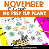 Emergency Sub Plans For 1st Grade (November)