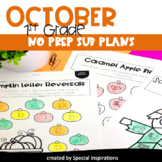 Emergency Sub Plans For 1st Grade (October)