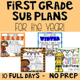 Emergency Sub Plans   First Grade Bundle