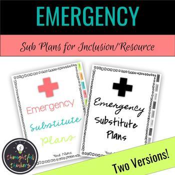 Emergency Sub Plans - Inclusion & Resource Teachers