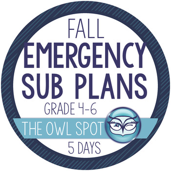 Sub Plans For a Week - Upper Elementary Fall Edition