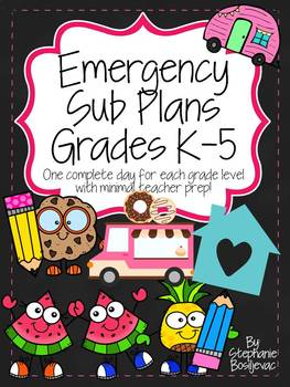 Emergency Sub Plans K-5th Bundle
