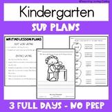 Emergency Sub Plans   Kindergarten   Back to School