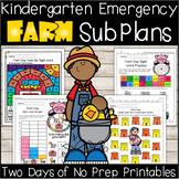Emergency Sub Plans-Kindergarten Farm Day!