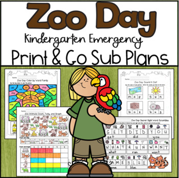 Emergency Sub Plans-Kindergarten Zoo Day!