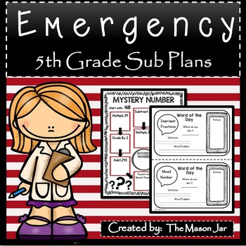 Emergency Sub Plans (Math 5th Grade) No Prep