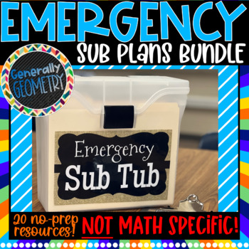 Emergency Sub Plans: 20 No-Prep Activities; NOT Math Specific!