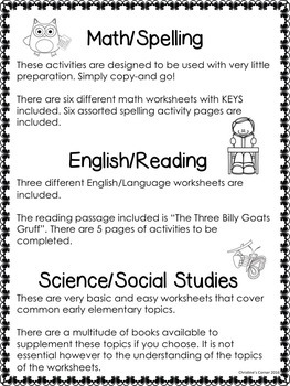 Substitute Plans, Print and Go! Editable pages  Second Grade All Subjects