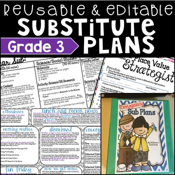 3rd Grade Substitute Plans Reusable and Editable
