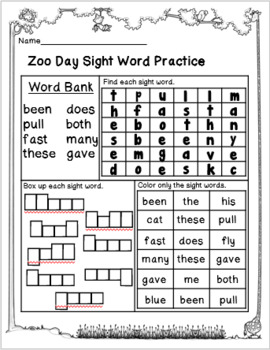 Emergency Sub Plans-Second Grade Zoo Day