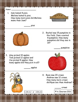 Emergency Sub Plans: Thanksgiving for 1st or 2nd Grade ELAS, Math and Writing
