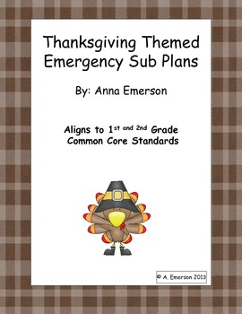 Emergency Sub Plans: Thanksgiving for 1st or 2nd Grade ELA