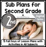 Sub Plans   Emergency Sub Plans   Bundle   5 Days   2nd Gr