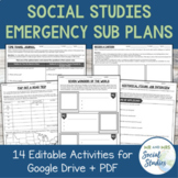 Emergency Sub Plans for Social Studies (Google Drive + PDF)