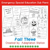 Emergency Sub Plans for Special Education Classrooms-Fall Set