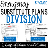 Emergency Substitute Plans (5th Grade Sub Plans for Math: