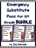 Emergency Substitute Plans for 1st Grade BUNDLE (3 sets Sub Plans)