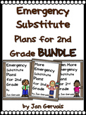 Emergency Substitute Plans for 2nd Grade BUNDLE (3 Sets Sub Plans)