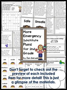 Emergency Substitute Plans for 2nd Grade BUNDLE (3 Sets Sub Plans)