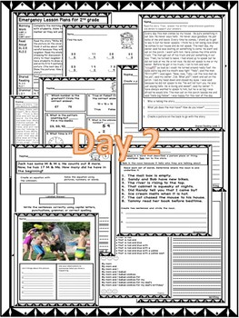 Substitute Lesson Plans for 2nd grade (2 days)