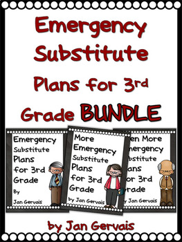 Emergency Substitute Plans for 3rd Grade BUNDLE (3 Sets)