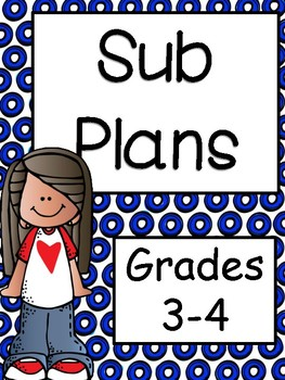 Emergency Substitute Plans for 3rd and 4th Grade
