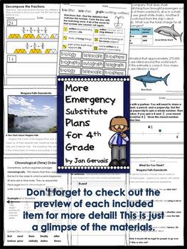Emergency Substitute Plans for 4th Grade BUNDLE (3 Sets)