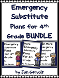 Emergency Substitute Plans for 4th Grade BUNDLE (3 Sets Sub Plans)