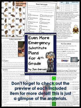 Emergency Substitute Plans for 4th Grade BUNDLE (3 Sets Sub Plans)