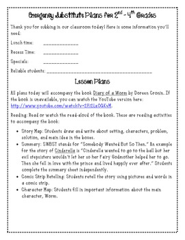 Emergency Substitute Plans for 2nd, 3rd, and 4th Grades Using Diary of a Worm