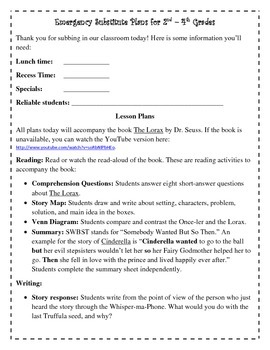 Emergency Substitute Plans for 2nd, 3rd, and 4th Grades Using The Lorax
