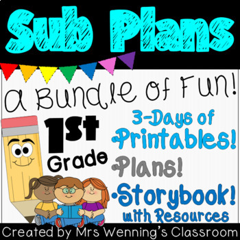 Sub Plans with Printable Activities for K-2! (multi day)