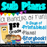 1st Grade Sub Plans (3 day pack with printable e-book!)