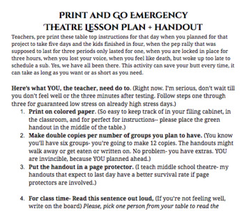Emergency Theatre Lesson Plan- The Chosen One- Sci Fy Prompts