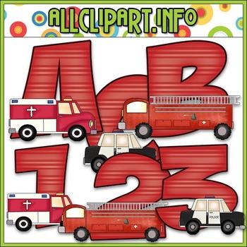 Emergency Vehicles Lettering Delights Alphas - Cheryl Seslar Clip Art