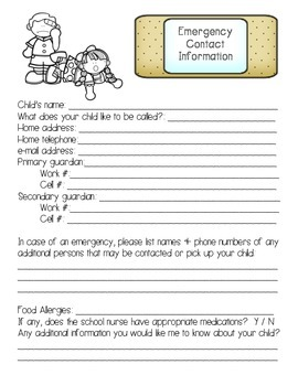 Emergency and Parent Contact Forms