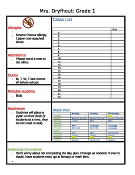 Emergency supply teacher 1 page sheet