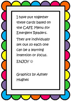 Emergent CAFE Comprehension Questions