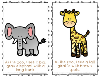 """Emergent Easy Reader Book: """"At the Zoo, I See..."""""""