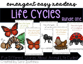 Emergent Easy Reader Book Bundle: Life Cycle Theme: SET 1