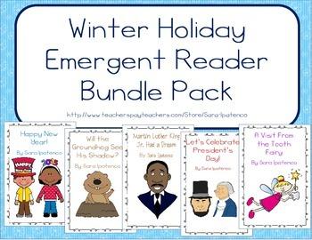 Emergent Easy Reader Book Bundle: Winter Holidays