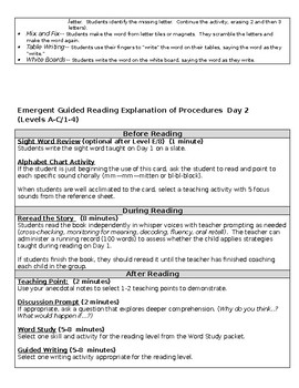 Emergent Guided Reading Lesson Plan Template