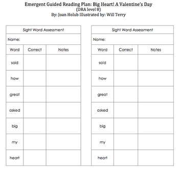 Emergent Guided Reading Plan:  Big Heart! A Valentine's Day Tale