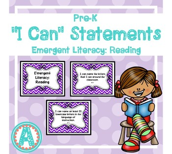 """Emergent Literacy: Reading """"I Can"""" Statements for Pre-K and Preschool"""