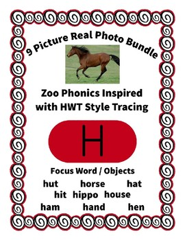 Emergent Reader Alphabet H ~ Real Pictures ~ Letter H ~ ZooPhonics Inspired HWT