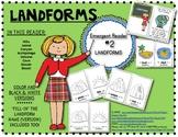 "Emergent Reader Book #2: ""Landforms"" Kindergarten Social Studies"